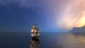 Sailing ship. In the vast ocean with small waves is getting all the sails filled with sea breeze 3d rendering Stock Images