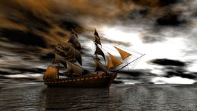 Sailing ship in the vast ocean in a sunset scene 3d rendering. Lake, boat, grass, seagulls and wood dock on in late afternoon, 3d rendering Royalty Free Stock Image