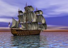 Sailing ship in the vast ocean in a sunset scene 3d rendering. Lake, boat, grass, seagulls and wood dock on in late afternoon, 3d rendering Stock Photo