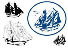 Sailing ship vector. Brigantine in full sail illustration Stock Photography