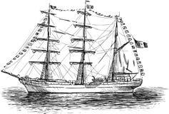 Sailing ship. Vector drawing of ancient sailing vessel Stock Photography