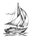Sailing ship vector sketch isolated with waves. Sailing boat vector sketch isolated with waves. Sea yacht floating on the water surface Stock Photos