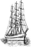 Sailing ship. Vector sketch of the old sailing ship Royalty Free Stock Images