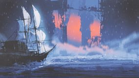 Sailing ship on wave of ocean into abandoned city. Digital art style, illustration painting Stock Photo