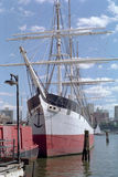 The Sailing Ship Wavertree New York USA. Old steel hulled sailing ship, the Wavertree, tied up at the South Street Seaport museum, New York royalty free stock images