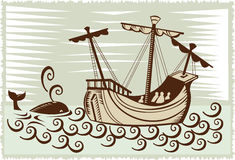 Sailing ship with whale Royalty Free Stock Photos