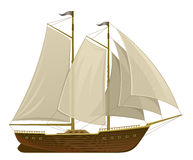 Sailing ship. On a white background Royalty Free Stock Photo