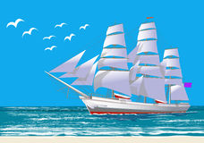 Sailing ship, white clipper, vector illustration Stock Photos