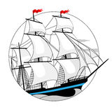 Sailing ship with white sails in a circle Stock Photos