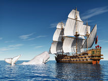 Sailing Ship with White Whale Royalty Free Stock Photos