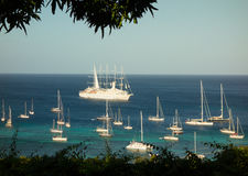 The sailing ship windstar arriving at a port in the caribbean Stock Image