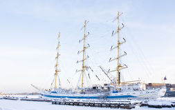 Sailing ship in winter, St. Petersburg Royalty Free Stock Images