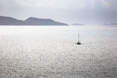 Sailing ship yacht in the open sea at the morning Royalty Free Stock Images