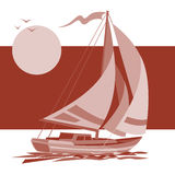 Sailing ship yacht in sunrise vector background royalty free illustration