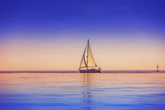 Sailing ship yachts in sea Stock Image