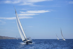 Sailing ship yachts with white sails. Nature. Stock Photos