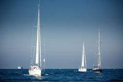 Sailing ship yachts with white sails Stock Photography