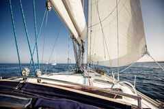 Sailing ship yachts with white sails Royalty Free Stock Images