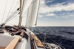 Sailing ship yachts with white sails Royalty Free Stock Photos