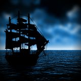 Sailing ship in the zone of bad weather royalty free stock images