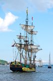 Sailing ships. Traditional sailing ships on the baltic sea near Kiel, Germany royalty free stock photos