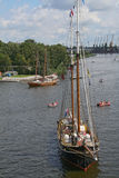 Sailing ships. View at sailing ships moored near embankment (picture from The Tall Ships' Races 2007 in Szczecin royalty free stock image