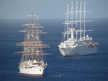Sailing ships in admiralty bay. Stock Images