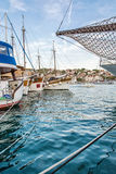Sailing ships anchored in the harbor, Trogit, Croatia Royalty Free Stock Photography