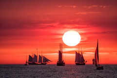 Sailing ships on the Baltic Sea. In Rostock (Germany royalty free stock photos