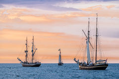Sailing ships on the Baltic Sea. In Rostock (Germany royalty free stock photo