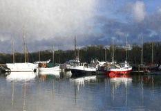 Sailing ships at bay. Sailing ships anchored at the bay royalty free stock photos