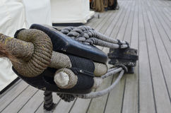 Sailing ships block and tackle on deck. Stock Photo