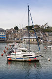 Sailing-ships in colorful, little, french harbor Royalty Free Stock Photos