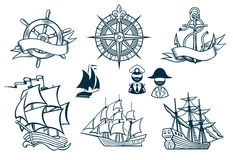 Sailing ships emblems Iconset. Ships of the past  iconset Royalty Free Stock Photos