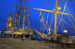 Sailing ships evening harbor Royalty Free Stock Photos