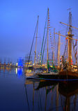 Sailing ships evening harbor Stock Photography