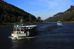 Sailing Ships From Děčín (Czech) Through The Hrensko, Smilka, Bad Shandau, Koenigstein, Wehlen, Pirna In Dresden, Germany Stock Image