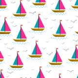 Sailing ships and gulls Stock Photo