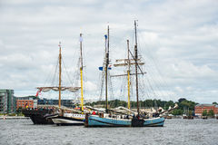 Sailing ships on the Hanse Sail in Rostock (Germany) Stock Photos