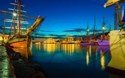 Sailing ships in harbor during the tall ships races Stock Photo