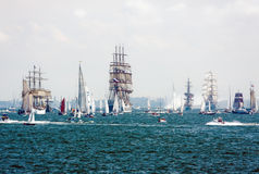 Sailing ships on the high seas. GDYNIA - July 18: 'Dar mlodziezy', 'Sedov', 'Dar pomorza' and others -Tall Ship Races, above 105 vessels, near 2.5 million Stock Images