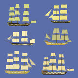 Sailing ships icon set. Flat style. vector illustration Royalty Free Stock Photos