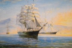 Free Sailing Ships In Bay, Oil Painting On Canvas Royalty Free Stock Photo - 161715735