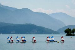 Sailing ships on the lake of Annecy. Sailing ships on the lake of Annecy in France royalty free stock image