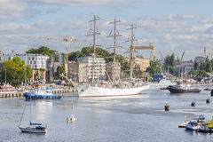 Sailing ships leaving port of Szczecin. Royalty Free Stock Photos