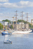 Sailing ships leaving port of Szczecin. Royalty Free Stock Images