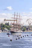 Sailing ships leaving the port of Szczecin. Royalty Free Stock Photos