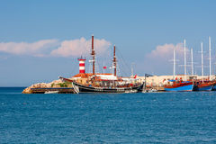 Sailing ships on marina in Kemer, Turkey. Stock Photos