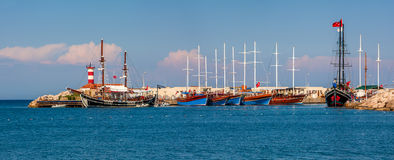 Sailing ships in marina on Mediterranean sea. Stock Photo