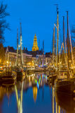 Sailing ships and masts at the Hoge der Aa quay Groningen Stock Images